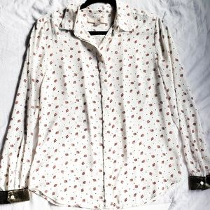 LOFT berry/ misletoe button down